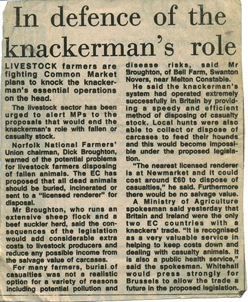 Newspaper clipping : 1970s regulation of the knacker trade